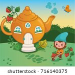the gnome with his house ... | Shutterstock .eps vector #716140375