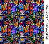 geometric seamless pattern... | Shutterstock . vector #716150956