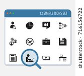 set of 12 editable office icons....