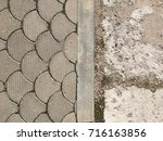 old tile in city park | Shutterstock . vector #716163856