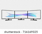 triple monitor setup. super... | Shutterstock .eps vector #716169325