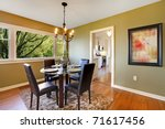 Fresh green dining room - stock photo