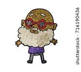 cartoon curious man with beard...   Shutterstock .eps vector #716190436