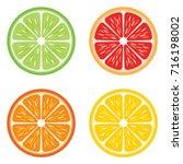 citrus fruit slices showing a...   Shutterstock .eps vector #716198002