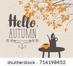 vector landscape in retro style ... | Shutterstock .eps vector #716198452