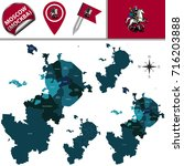vector map of moscow with named ... | Shutterstock .eps vector #716203888