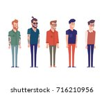 3 4 view characters. separate...   Shutterstock .eps vector #716210956