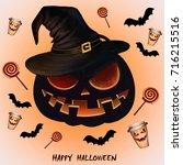 festive autumn halloween coffee | Shutterstock . vector #716215516