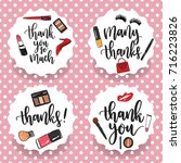 pack of four make up thank you... | Shutterstock .eps vector #716223826