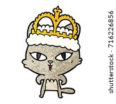 cartoon cat wearing crown | Shutterstock .eps vector #716226856