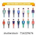 flat vector men collection.... | Shutterstock .eps vector #716229676