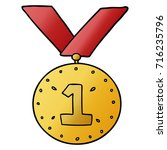 cartoon sports medal | Shutterstock .eps vector #716235796
