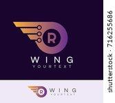 wing initial letter r logo... | Shutterstock .eps vector #716255686