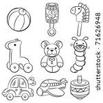 hand draw cartoon baby toy icon