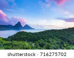 pitons from jade mountain... | Shutterstock . vector #716275702