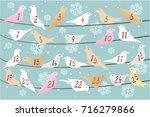 advent calendar with birds | Shutterstock .eps vector #716279866