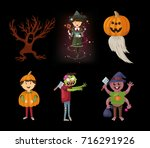 halloween set with spider ... | Shutterstock .eps vector #716291926