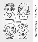 hand draw cartoon family icon   Shutterstock .eps vector #71629207