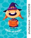 halloween vector poster trick... | Shutterstock .eps vector #716305558