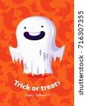 halloween vector poster trick... | Shutterstock .eps vector #716307355