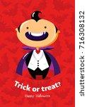 halloween vector poster trick... | Shutterstock .eps vector #716308132