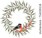 watercolor autumn wreath. hand... | Shutterstock . vector #716328118
