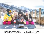 group of friends talking and... | Shutterstock . vector #716336125