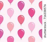 pink balloons seamless pattern... | Shutterstock .eps vector #716338576