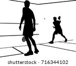 squash players playing a match... | Shutterstock .eps vector #716344102