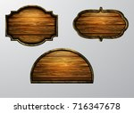 wooden signs  vector icon set | Shutterstock .eps vector #716347678