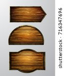 wooden signs  vector icon set | Shutterstock .eps vector #716347696