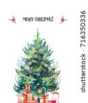 watercolor christmas tree and... | Shutterstock . vector #716350336