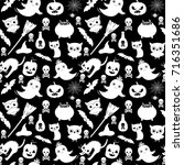cute black and white vector... | Shutterstock .eps vector #716351686