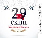 republic day of turkey national ... | Shutterstock .eps vector #716357152