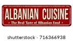 albanian cuisine vintage rusty... | Shutterstock .eps vector #716366938