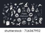 happy halloween  set of...   Shutterstock .eps vector #716367952