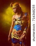 african girl in national attire.... | Shutterstock . vector #716368255