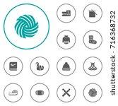 set of 12 handcraft icons set... | Shutterstock .eps vector #716368732
