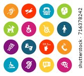 set of 16 accessibility icons... | Shutterstock .eps vector #716378242