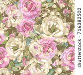 roses and peonies seamless... | Shutterstock . vector #716382502