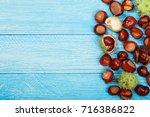 Chestnut On Blue Wooden...