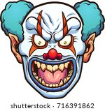 evil cartoon clown head. vector ... | Shutterstock .eps vector #716391862