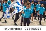 uniformed in blue  high school... | Shutterstock . vector #716400316