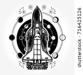 space ship and universe tattoo... | Shutterstock .eps vector #716425126