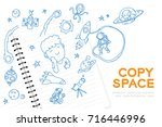 notebook with kid boy hand... | Shutterstock .eps vector #716446996