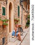 beautiful pretty woman walking... | Shutterstock . vector #716450632