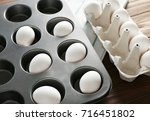 muffin tin and carton package... | Shutterstock . vector #716451802