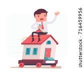 illustration with funny clerk.... | Shutterstock .eps vector #716459956