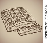 engraving of waffles. delicious ... | Shutterstock .eps vector #716466742