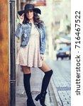 young brunette woman  model of... | Shutterstock . vector #716467522